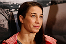 LAS VEGAS, NEVADA - JANUARY 29:  Sara McMann interacts with media during the UFC 183 Ultimate Media Day at the MGM Grand Hotel/Casino on January 29, 2015 in Las Vegas, Nevada. (Photo by Josh Hedges/Zuffa LLC/Zuffa LLC via Getty Images)