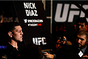 LAS VEGAS, NEVADA - JANUARY 29:  Nick Diaz interacts with media during the UFC 183 Ultimate Media Day at the MGM Grand Hotel/Casino on January 29, 2015 in Las Vegas, Nevada. (Photo by Josh Hedges/Zuffa LLC/Zuffa LLC via Getty Images)