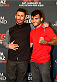 LAS VEGAS, NEVADA - JANUARY 29:  (L-R) Opponents Ian McCall and John Lineker of Brazil pose for photos during the UFC 183 Ultimate Media Day at the MGM Grand Hotel/Casino on January 29, 2015 in Las Vegas, Nevada. (Photo by Josh Hedges/Zuffa LLC/Zuffa LLC via Getty Images)