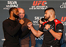 LAS VEGAS, NEVADA - JANUARY 29:  (L-R) Opponents Tyron Woodley and Kelvin Gastelum face off during the UFC 183 Ultimate Media Day at the MGM Grand Hotel/Casino on January 29, 2015 in Las Vegas, Nevada. (Photo by Josh Hedges/Zuffa LLC/Zuffa LLC via Getty Images)