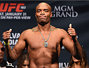 LAS VEGAS, NV - JANUARY 30:  Former UFC middleweight champion Anderson Silva steps on the scale during the UFC 183 weigh-in at the MGM Grand Garden Arena on January 30, 2015 in Las Vegas, Nevada.  (Photo by Josh Hedges/Zuffa LLC/Zuffa LLC via Getty Images)