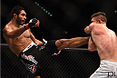 LAS VEGAS, NV - JANUARY 31:  (L-R) Rafael Natal kicks Tom Watson in their middleweight bout during the UFC 183 event at the MGM Grand Garden Arena on January 31, 2015 in Las Vegas, Nevada.  (Photo by Jeff Bottari/Zuffa LLC/Zuffa LLC via Getty Images) *** Local Caption *** Rafael Natal; Tom Watson