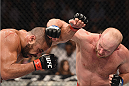 LAS VEGAS, NV - JANUARY 31:  (R-L) Tim Boetsch punches Thales Leites in their middleweight bout during the UFC 183 event at the MGM Grand Garden Arena on January 31, 2015 in Las Vegas, Nevada.  (Photo by Josh Hedges/Zuffa LLC/Zuffa LLC via Getty Images) *** Local Caption *** Thales Leites; Tim Boetsch