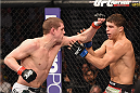 LAS VEGAS, NV - JANUARY 31:  (L-R) Joe Lauzon punches Al Iaquinta in their lightweight bout during the UFC 183 event at the MGM Grand Garden Arena on January 31, 2015 in Las Vegas, Nevada.  (Photo by Josh Hedges/Zuffa LLC/Zuffa LLC via Getty Images) *** Local Caption *** Joe Lauzon; Al Iaquinta