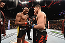 LAS VEGAS, NV - JANUARY 31:  (L-R) Anderson Silva and Nick Diaz touch gloves before their middleweight bout during the UFC 183 event at the MGM Grand Garden Arena on January 31, 2015 in Las Vegas, Nevada.  (Photo by Josh Hedges/Zuffa LLC/Zuffa LLC via Getty Images) *** Local Caption *** Anderson Silva; Nick Diaz