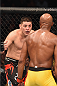 LAS VEGAS, NV - JANUARY 31:  Nick Diaz (left) taunts Anderson Silva (right) in their middleweight bout during the UFC 183 event at the MGM Grand Garden Arena on January 31, 2015 in Las Vegas, Nevada.  (Photo by Josh Hedges/Zuffa LLC/Zuffa LLC via Getty Images) *** Local Caption *** Anderson Silva; Nick Diaz
