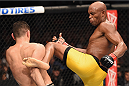 LAS VEGAS, NV - JANUARY 31:  (R-L)  Anderson Silva kicks Nick Diaz in their middleweight bout during the UFC 183 event at the MGM Grand Garden Arena on January 31, 2015 in Las Vegas, Nevada.  (Photo by Josh Hedges/Zuffa LLC/Zuffa LLC via Getty Images) *** Local Caption *** Anderson Silva; Nick Diaz