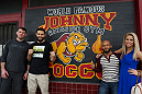 LAS VEGAS, NEVADA - JANUARY 28:  From L-R - Forrest Griffin, Carlos Condit, Demetrious Johnson and Paige VanZant pose for a photo outside the legendary Johnny Tocco Las Vegas boxing gym.  (Photo by Brandon Magnus/Zuffa LLC/Zuffa LLC)