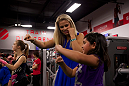 LAS VEGAS, NEVADA - JANUARY 28: UFC strawweight contender Paige VanZant joins a children's combat class at UFC Gym in Green Valley. (Photo by Brandon Magnus/Zuffa LLC/Zuffa LLC)
