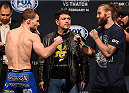 BROOMFIELD, CO - FEBRUARY 13: (L-R) Opponents Zach Makovsky and Tim Elliott face off during the UFC weigh-in at the 1stBank Center on February 13, 2015 in Broomfield, Colorado. (Photo by Josh Hedges/Zuffa LLC/Zuffa LLC via Getty Images)