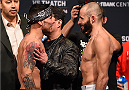 BROOMFIELD, CO - FEBRUARY 13: (L-R) Opponents Ray Borg and Chris Kelades face off during the UFC weigh-in at the 1stBank Center on February 13, 2015 in Broomfield, Colorado. (Photo by Josh Hedges/Zuffa LLC/Zuffa LLC via Getty Images)