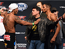 BROOMFIELD, CO - FEBRUARY 13: (L-R) Opponents Michel Prazeres of Brazil and Kevin Lee face off during the UFC weigh-in at the 1stBank Center on February 13, 2015 in Broomfield, Colorado. (Photo by Josh Hedges/Zuffa LLC/Zuffa LLC via Getty Images)
