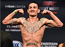BROOMFIELD, CO - FEBRUARY 13: Max Holloway weighs in during the UFC weigh-in at the 1stBank Center on February 13, 2015 in Broomfield, Colorado. (Photo by Josh Hedges/Zuffa LLC/Zuffa LLC via Getty Images)