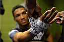 BROOMFIELD, CO - FEBRUARY 14:  Kevin Lee gets his hands wrapped backstage during the UFC Fight Night event inside 1stBank Center on February 14, 2015 in Broomfield, Colorado. (Photo by Mike Roach/Zuffa LLC/Zuffa LLC via Getty Images)