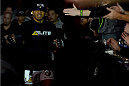 BROOMFIELD, CO - FEBRUARY 14:  Benson Henderson enters the arena before facing Brandon Thatch in their welterweight fight during the UFC Fight Night event inside 1stBank Center on February 14, 2015 in Broomfield, Colorado. (Photo by Josh Hedges/Zuffa LLC/Zuffa LLC via Getty Images)