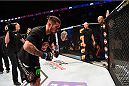 BROOMFIELD, CO - FEBRUARY 14:  Brandon Thatch acknowledges the crowd after being defeated by Benson Henderson in their welterweight fight during the UFC Fight Night event inside 1stBank Center on February 14, 2015 in Broomfield, Colorado. (Photo by Josh Hedges/Zuffa LLC/Zuffa LLC via Getty Images)