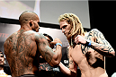 PORTO ALEGRE, BRAZIL - FEBRUARY 21: Ivan Jorge of Brazil and Josh Shockley of the USA face off  during the UFC Fight Night Weigh-ins at Gigantinho Arena on February 21, 2015 in Porto Alegre, Brazil.  (Photo by Buda Mendes/Zuffa LLC/Zuffa LLC via Getty Images)