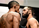 PORTO ALEGRE, BRAZIL - FEBRUARY 21: Iuri Alcantra of Brazil and Frankie Saenz of the USA face off  during the UFC Fight Night Weigh-ins at Gigantinho Arena on February 21, 2015 in Porto Alegre, Brazil.  (Photo by Buda Mendes/Zuffa LLC/Zuffa LLC via Getty Images)