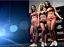 PORTO ALEGRE, BRAZIL - FEBRUARY 21:  (L-R) Octagon Girls Luciana Andrade, Jhenny Andrade and  Camila Oliveira pose for photos during the UFC Fight Night Weigh-ins at Gigantinho Arena on February 21, 2015 in Porto Alegre, Brazil.  (Photo by Buda Mendes/Zuffa LLC/Zuffa LLC via Getty Images)