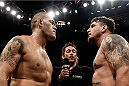 "PORTO ALEGRE, BRAZIL - FEBRUARY 22: Antonio ""Bigfoot"" Silva of Brazil and Frank Mir of the United States face off prior to their heavyweight bout during the UFC Fight Night at Gigantinho Gymnasium on February 22, 2015 in Porto Alegre, Brazil. (Photo by Buda Mendes/Zuffa LLC/Zuffa LLC via Getty Images)"