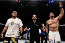 "PORTO ALEGRE, BRAZIL - FEBRUARY 22: Frank Mir of the United States celebrates after defeating Antonio ""Bigfoot"" Silva of Brazil c in their heavyweight bout during the UFC Fight Night at Gigantinho Gymnasium on February 22, 2015 in Porto Alegre, Brazil. (Photo by Buda Mendes/Zuffa LLC/Zuffa LLC via Getty Images)"