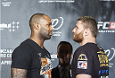 KRAKOW, POLAND - FEBRUARY 25: (L) Jimi Poster Boy Manuwa from USA and (R) Jan Blachowicz from Poland while face off during a UFC press conference in Piwnica Pod Baranami Restaurant on February 25, 2015 in Krakow, Poland. (Photo by Adam Nurkiewicz/Zuffa LLC/Zuffa LLC via Getty Images)