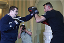 KRAKOW, POLAND - FEBRUARY 25: Mirko Cro Cop from Croatia during a UFC training session in Piwnica Pod Baranami Restaurant on February 25, 2015 in Krakow, Poland. (Photo by Adam Nurkiewicz/Zuffa LLC/Zuffa LLC via Getty Images)