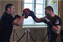 KRAKOW, POLAND - FEBRUARY 25: Jan Blachowicz from Poland during a UFC training session in Piwnica Pod Baranami Restaurant on February 25, 2015 in Krakow, Poland. (Photo by Adam Nurkiewicz/Zuffa LLC/Zuffa LLC via Getty Images)