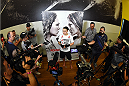 TORRANCE, CA - FEBRUARY 24:  Raquel Pennington interacts with media after an open training session for fans and media at the UFC Gym on February 24, 2015 in Torrance, California. (Photo by Josh Hedges/Zuffa LLC/Zuffa LLC via Getty Images)