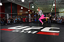 TORRANCE, CA - FEBRUARY 24:  Holly Holm holds an open training session for fans and media at the UFC Gym on February 24, 2015 in Torrance, California. (Photo by Josh Hedges/Zuffa LLC/Zuffa LLC via Getty Images)