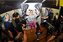 TORRANCE, CA - FEBRUARY 24:  Holly Holm interacts with media after an open training session for fans and media at the UFC Gym on February 24, 2015 in Torrance, California. (Photo by Josh Hedges/Zuffa LLC/Zuffa LLC via Getty Images)