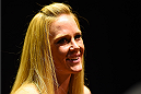 LOS ANGELES, CA - FEBRUARY 25:  Holly Holm interacts with media during the UFC 184 Ultimate Media Day at Club Nokia on February 25, 2015 in Los Angeles, California. (Photo by Josh Hedges/Zuffa LLC/Zuffa LLC via Getty Images)