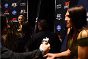 LOS ANGELES, CA - FEBRUARY 25:  Opponents Ronda Rousey (L) and Cat Zingano (R) interacts with media during the UFC 184 Ultimate Media Day at Club Nokia on February 25, 2015 in Los Angeles, California. (Photo by Josh Hedges/Zuffa LLC/Zuffa LLC via Getty Images)