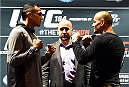 LOS ANGELES, CA - FEBRUARY 25:  (L-R) Opponents Tony Ferguson and Gleison Tibau face off during the UFC 184 Ultimate Media Day at Club Nokia on February 25, 2015 in Los Angeles, California. (Photo by Josh Hedges/Zuffa LLC/Zuffa LLC via Getty Images)