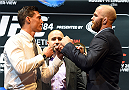 LOS ANGELES, CA - FEBRUARY 25:  (L-R) Opponents Alan Jouban and Richard Walsh face off during the UFC 184 Ultimate Media Day at Club Nokia on February 25, 2015 in Los Angeles, California. (Photo by Josh Hedges/Zuffa LLC/Zuffa LLC via Getty Images)