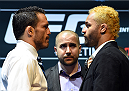 LOS ANGELES, CA - FEBRUARY 25:  (L-R) Opponents Jake Ellenberger and Josh Koscheck face off during the UFC 184 Ultimate Media Day at Club Nokia on February 25, 2015 in Los Angeles, California. (Photo by Josh Hedges/Zuffa LLC/Zuffa LLC via Getty Images)