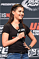 LOS ANGELES, CA - FEBRUARY 27:  UFC host Megan Olivi interacts with fans during a Q&A session before before the UFC 184 weigh-in at the Event Deck and LA Live on February 27, 2015 in Los Angeles, California. (Photo by Josh Hedges/Zuffa LLC/Zuffa LLC via Getty Images)