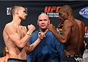 LOS ANGELES, CA - FEBRUARY 27:   (L-R) Opponents James Krause and Valmir Lazaro of Brazil face off during the UFC 184 weigh-in at the Event Deck and LA Live on February 27, 2015 in Los Angeles, California. (Photo by Josh Hedges/Zuffa LLC/Zuffa LLC via Getty Images)
