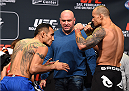 LOS ANGELES, CA - FEBRUARY 27:  (L-R) Opponents Tony Ferguson and Gleison Tibau of Brazil face off during the UFC 184 weigh-in at the Event Deck and LA Live on February 27, 2015 in Los Angeles, California. (Photo by Josh Hedges/Zuffa LLC/Zuffa LLC via Getty Images)