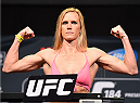 LOS ANGELES, CA - FEBRUARY 27:  Holly Holm weighs in during the UFC 184 weigh-in at the Event Deck and LA Live on February 27, 2015 in Los Angeles, California. (Photo by Josh Hedges/Zuffa LLC/Zuffa LLC via Getty Images)