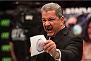 LOS ANGELES, CA - FEBRUARY 28:   Octagon Announcer Bruce Buffer announces the heavyweight bout between Derrick Lewis and Ruan Potts during the UFC 184 event at Staples Center on February 28, 2015 in Los Angeles, California.  (Photo by Josh Hedges/Zuffa LLC/Zuffa LLC via Getty Images)