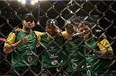 LOS ANGELES, CA - FEBRUARY 28:  (2L) Roan Carneiro and teammates celebrate after his win over Mark Munoz in their lightweight bout during the UFC 184 event at Staples Center on February 28, 2015 in Los Angeles, California.  (Photo by Jeff Gross/Zuffa LLC/Zuffa LLC via Getty Images)