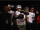 LOS ANGELES, CA - FEBRUARY 28:  (Middle) Tony Ferguson enter the Octagon before his lightweight bout with Gleison Tibau during the UFC 184 event at Staples Center on February 28, 2015 in Los Angeles, California.  (Photo by Jeff Bottari/Zuffa LLC/Zuffa LLC via Getty Images)