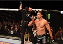 LOS ANGELES, CA - FEBRUARY 28:  Alan Jouban celebrates his win over Richard Walsh in their welterweight bout during the UFC 184 event at Staples Center on February 28, 2015 in Los Angeles, California.  (Photo by Josh Hedges/Zuffa LLC/Zuffa LLC via Getty Images)