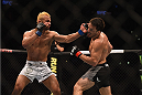 LOS ANGELES, CA - FEBRUARY 28:  (L-R) Josh Koscheck punches Jake Ellenberger in their welterweight bout during the UFC 184 event at Staples Center on February 28, 2015 in Los Angeles, California.  (Photo by Jeff Bottari/Zuffa LLC/Zuffa LLC via Getty Images)