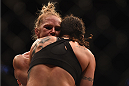 LOS ANGELES, CA - FEBRUARY 28:  (L) Holly Holm and Raquel Pennington grapple in their women's bantamweight bout during the UFC 184 event at Staples Center on February 28, 2015 in Los Angeles, California.  (Photo by Jeff Bottari/Zuffa LLC/Zuffa LLC via Getty Images)