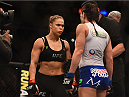 LOS ANGELES, CA - FEBRUARY 28:  (L) Ronda Rousey faces off with Cat Zingano before their UFC women's bantamweight championship bout during the UFC 184 event at Staples Center on February 28, 2015 in Los Angeles, California.  (Photo by Jeff Bottari/Zuffa LLC/Zuffa LLC via Getty Images)