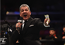 LOS ANGELES, CA - FEBRUARY 28:  UFC announcer Bruce Buffer announces the main event of the evening during the UFC 184 event at Staples Center on February 28, 2015 in Los Angeles, California.  (Photo by Jeff Bottari/Zuffa LLC/Zuffa LLC via Getty Images)