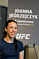 DALLAS, TX - MARCH 12:  Joanna Jedrzejczyk of Poland interacts with media during the UFC 185 Ultimate Media Day at the American Airlines Center on March 12, 2015 in Dallas, Texas. (Photo by Mike Roach/Zuffa LLC/Zuffa LLC via Getty Images)