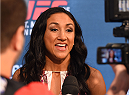 DALLAS, TX - MARCH 12:  UFC women's strawweight champion Carla Esparza interacts with media during the UFC 185 Ultimate Media Day at the American Airlines Center on March 12, 2015 in Dallas, Texas. (Photo by Josh Hedges/Zuffa LLC/Zuffa LLC via Getty Images)